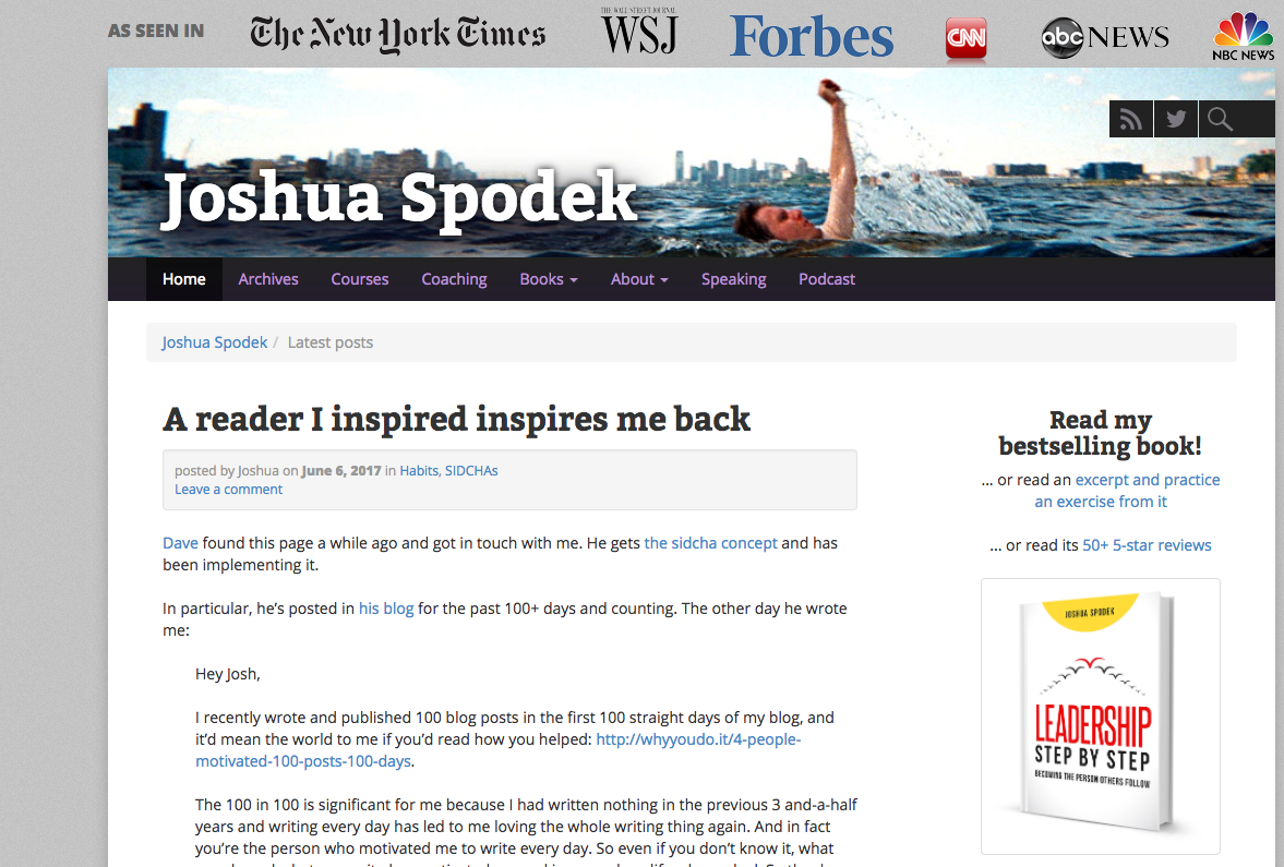 The first blogpost about one of my blogposts: Joshua Spodek