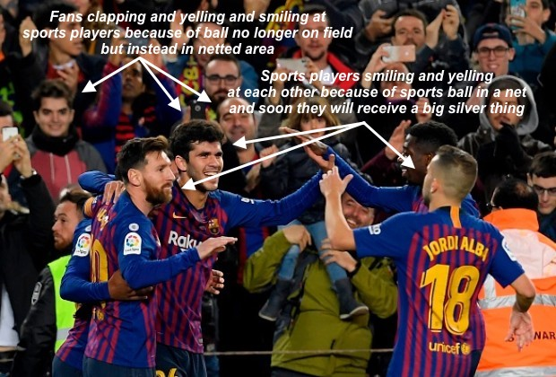 Barcelona Football Club Can Have A Big Shiny Silver Thing Given To Them For Free Tonight Because They Have A Higher Number Of A Particular Statistic Due To Putting A Sports Ball Into A Netted Area More Than All Other Similar Sports Teams Over The Last 9-Month Period And This Will Make A Lot Of People Clap And Yell At Them Because They Like It