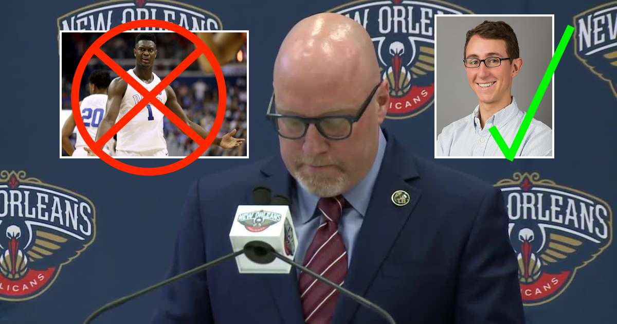 Whoopsie: New Orleans Executive Vice-President David Griffin Accidentally Said The Wrong Name At The NBA Draft, Selecting Boston-area Photographer And Rowing Enthusiast Zack Williamson With The Team's First Overall Pick Instead of Duke University's Consensus #1 Zion Williamson